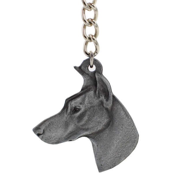 "Dog Breed Keychain USA Pewter - Doberman Pinscher (2.5"")"