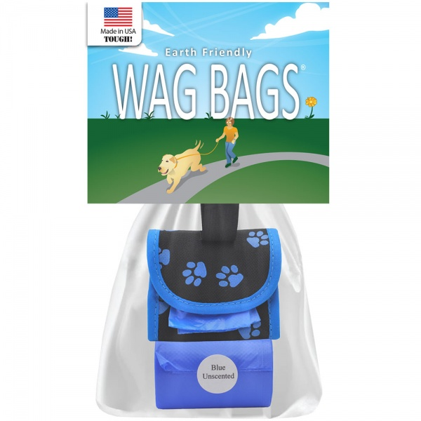 Wag Bags Dispenser Paw Prints - Blue (30 Bags)