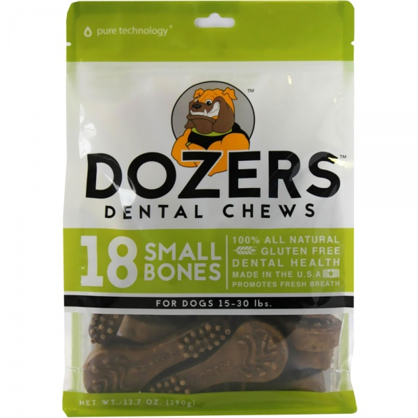 Dozers Dental Chews for Dogs 15-30 lbs - Brush (18 Small Chews)