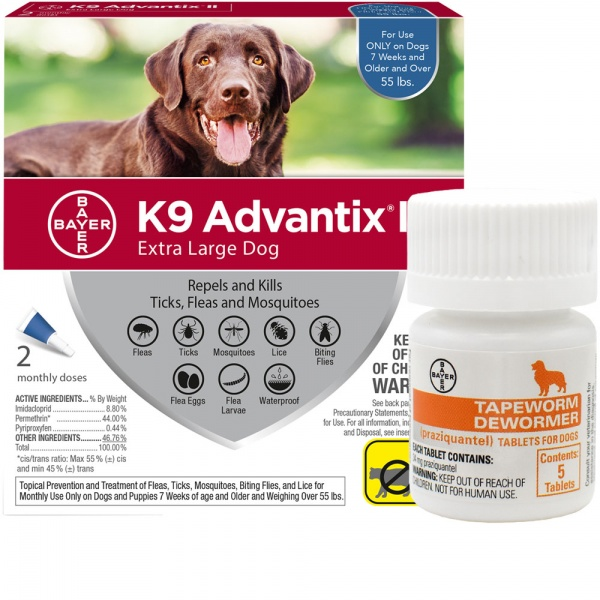 2 MONTH K9 Advantix II BLUE for Extra Large Dogs (over 55 lbs) + Tapeworm Dewormer for Dogs (5 Table